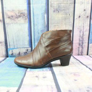 Earth Spirit Flora Brown Leather Ankle Boots Sz 9
